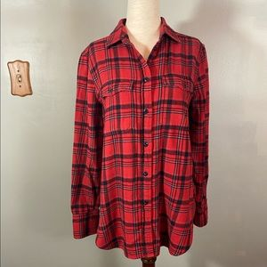 J. Crew Red Flannel Button Front Long Sleeve Top